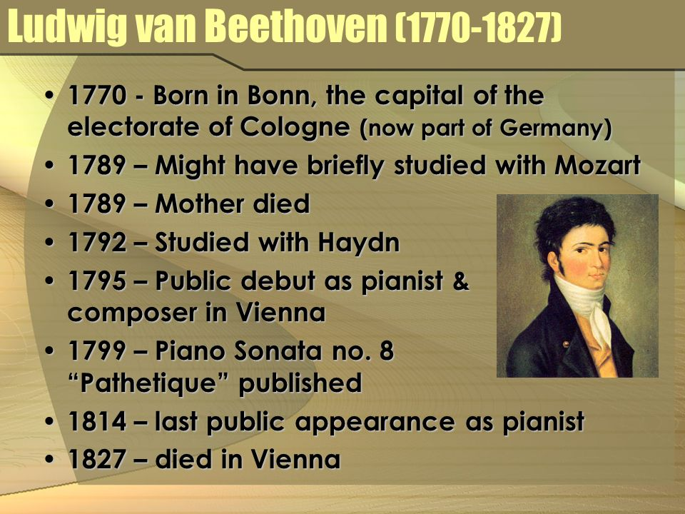 3periods of beethovens life Ludwig van beethoven is considered one of the finest pianists in histoy contents[show] early life beethoven was born at in frankfurt, germany on the 16th of december, 1770.
