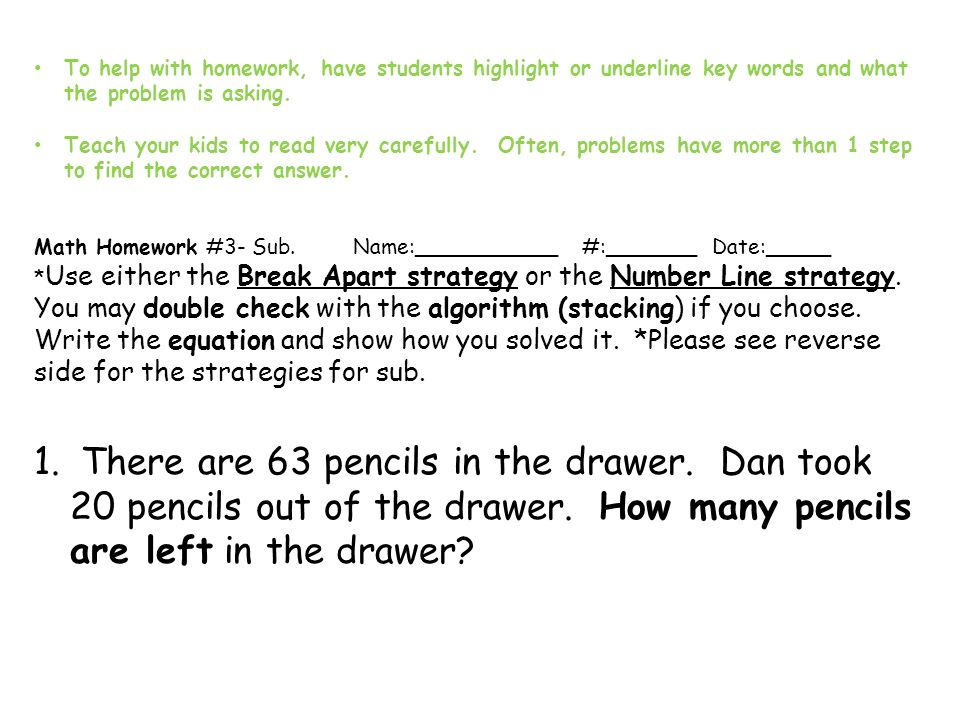math homework tips for parents nov ppt video online  to help homework have students highlight or underline key words and what the problem