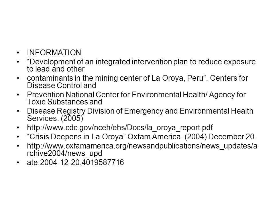 INFORMATION Development of an integrated intervention plan to reduce exposure to lead and other.