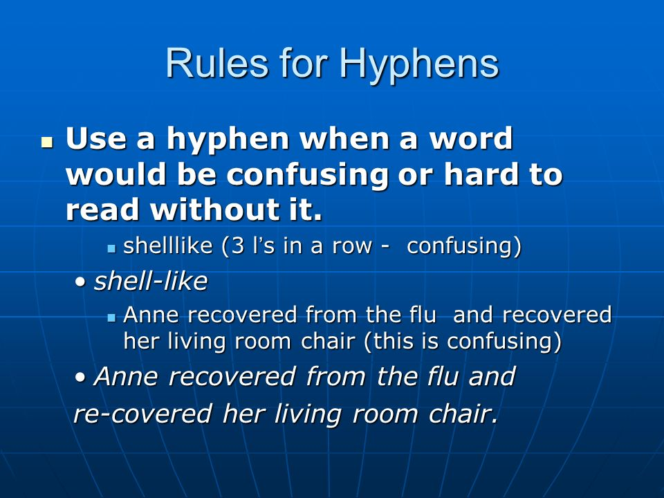 how to correctly use a hyphen