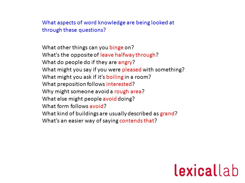 What aspects of word knowledge are being looked at through these questions