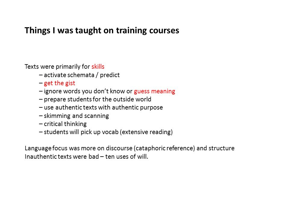 Things I was taught on training courses