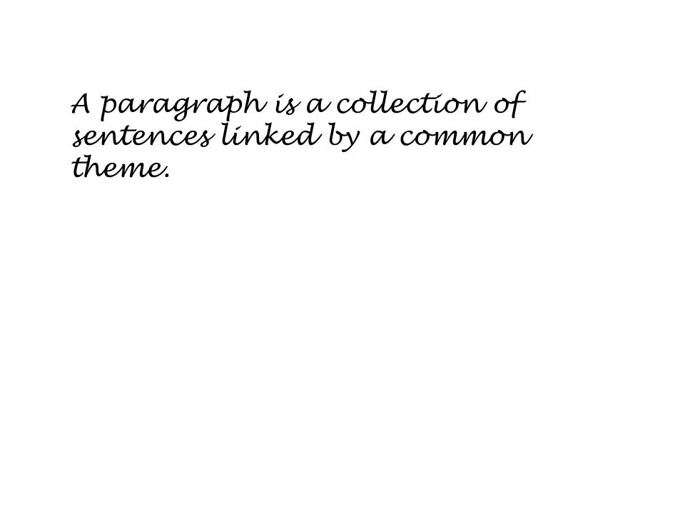 A paragraph is a collection of sentences linked by a common theme.