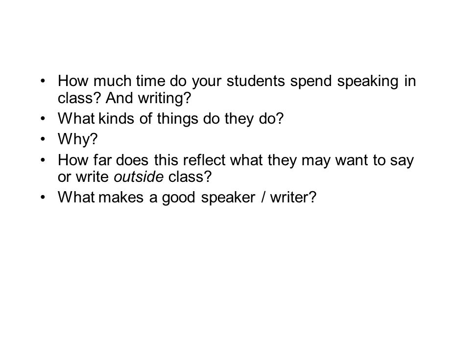 How much time do your students spend speaking in class And writing