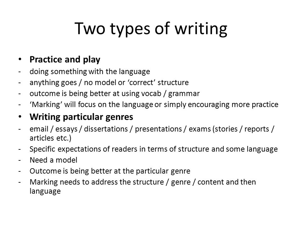 Two types of writing Practice and play Writing particular genres