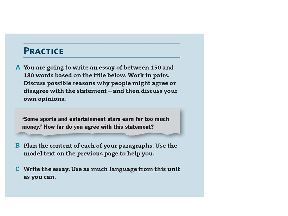 Slide 14: Just the PRACTICE section from OUTCOMES INTERMEDIATE Writing 07 For & Against, the last one-third of the right-hand column on page again.