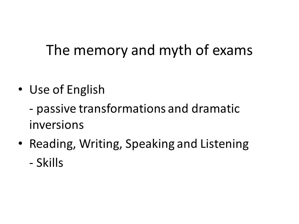 The memory and myth of exams