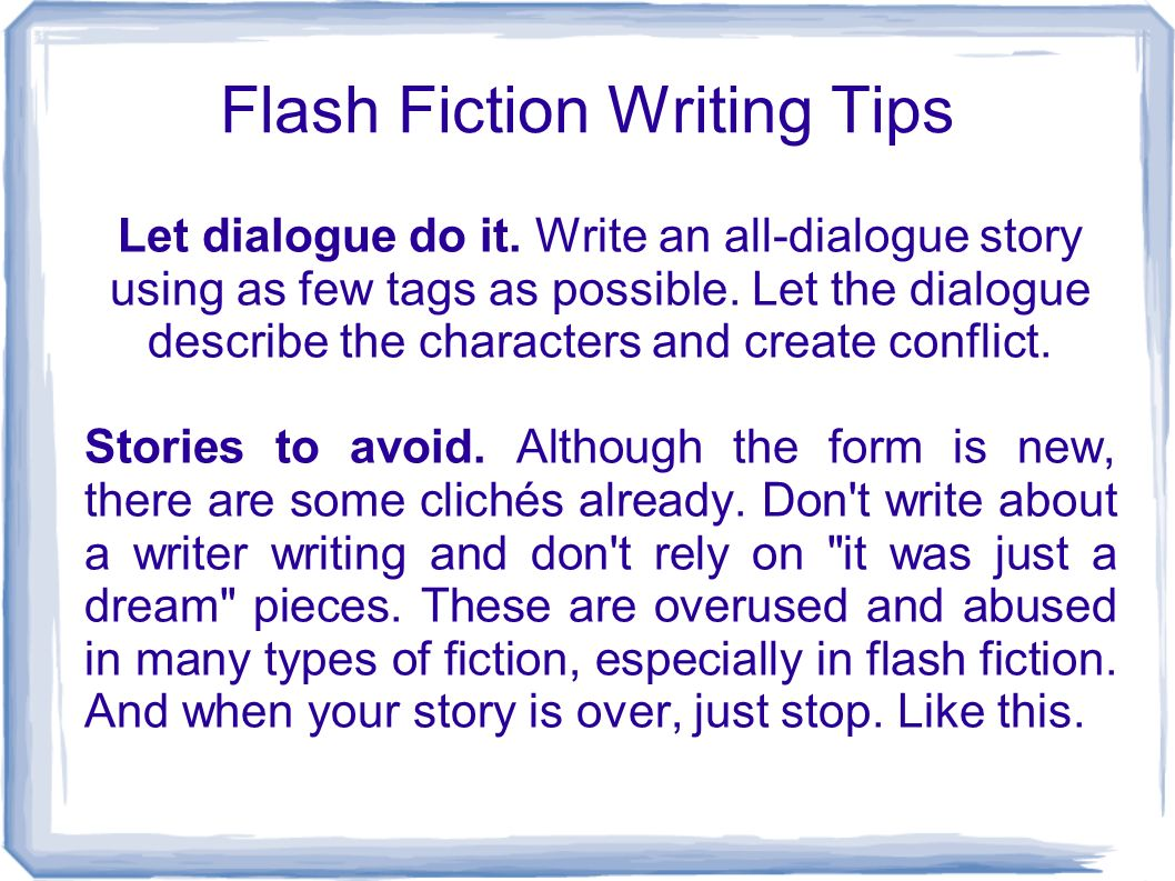 Storyville: How to Write Flash Fiction
