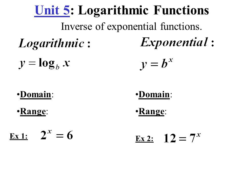 Unit 5: Logarithmic Functions - ppt video online download