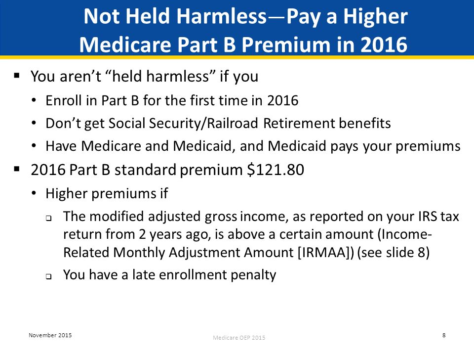 Medicare open enrollment ppt download not held harmlesspay a higher medicare part b premium in 2016 ccuart Image collections