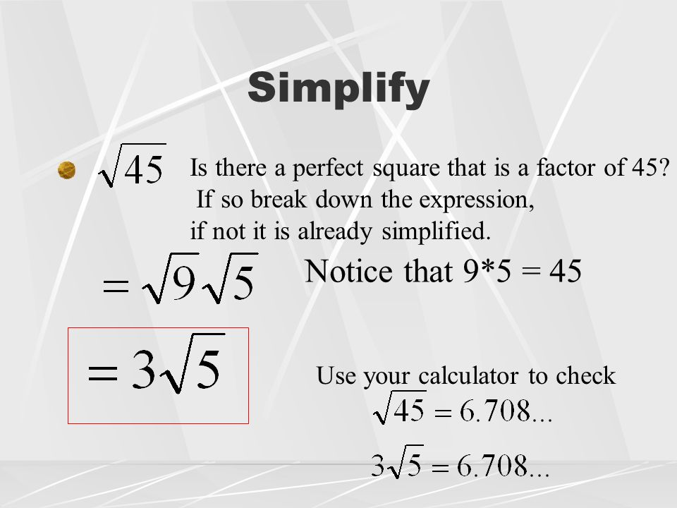 square and world radical formulas View real world radical formulas_wk 3 from matt 222 222 at ashford university radical formulas when solving equations with.