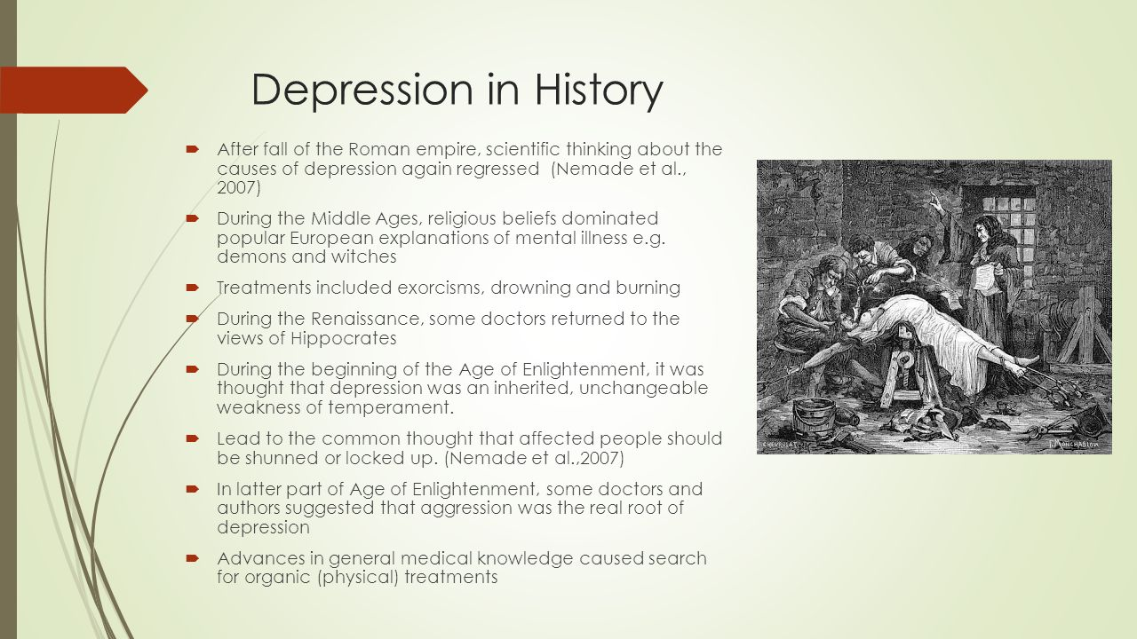 the history of depression illness History of present illness mr h is a 65 year old white male with a past medical history significant for an mi and depression who presents today complaining of sharp, epigastric abdominal pain of 3-4 months duration.