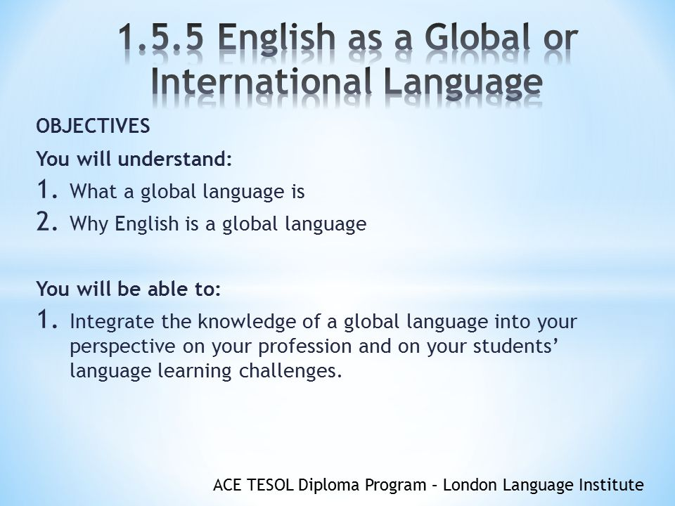 essay for english as an international language English as an International Language