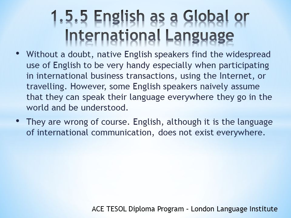 English As A Global Or International Language Ppt Video - Global language course