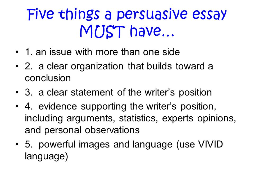 persuasive writing ppt five things a persuasive essay must have