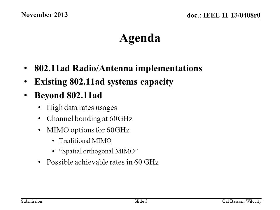 Agenda ad Radio/Antenna implementations
