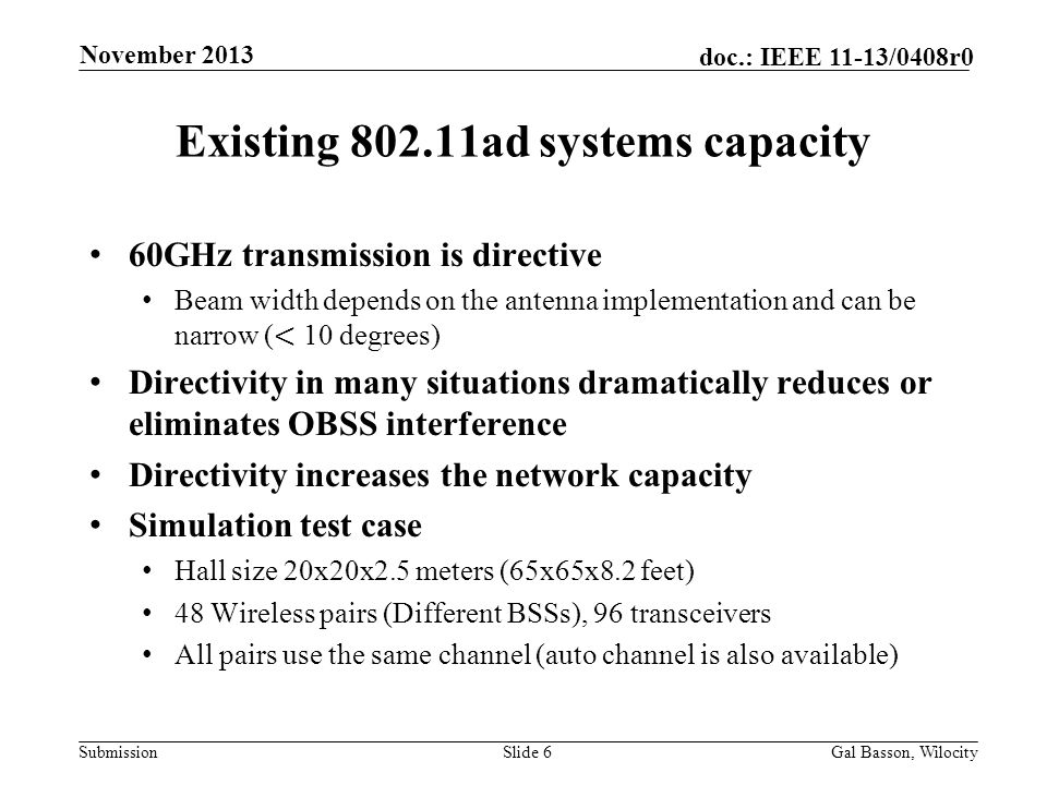 Existing 802.11ad systems capacity