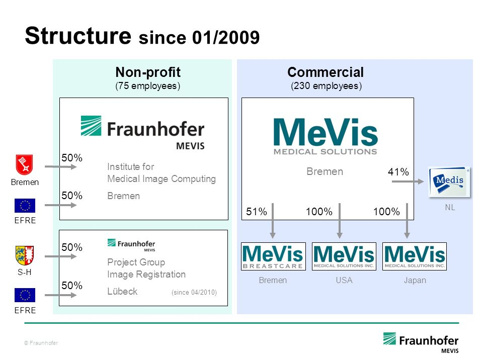 Structure since 01/2009 Non-profit Commercial (75 employees) (230 employees)