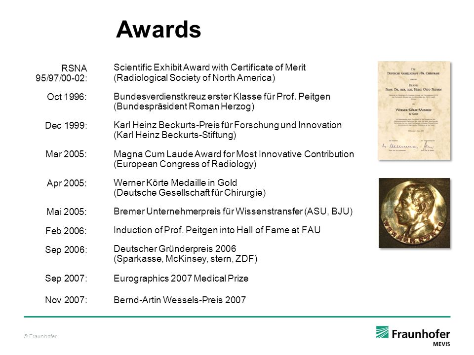 Awards RSNA 95/97/00-02: Oct 1996: Dec 1999: Mar 2005: Apr 2005: Mai 2005: Feb 2006: Sep 2006: