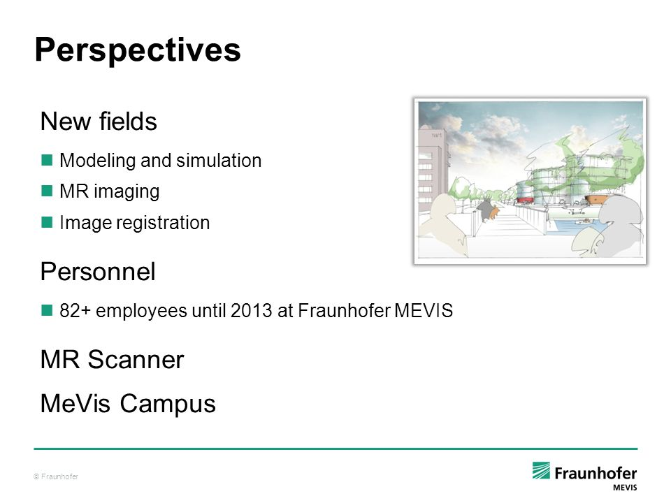 Perspectives New fields Personnel MR Scanner MeVis Campus