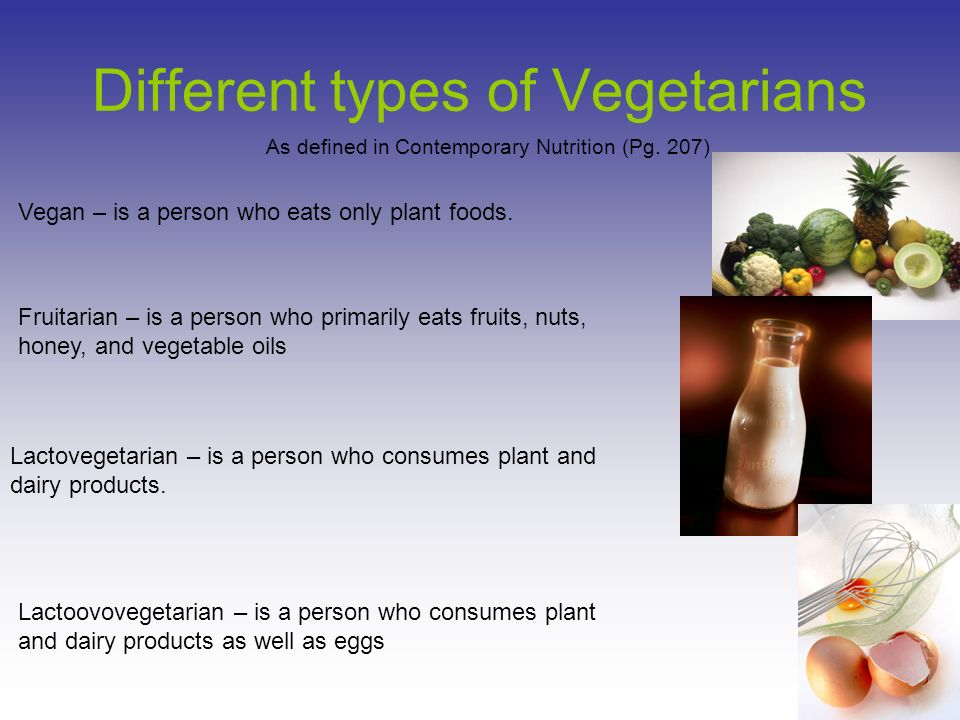 the different types of vegetarians Guide to understanding the different types of vegetarians our dietitian breaks down the types of vegetarian diets and what is included or excluded from their meal plans.