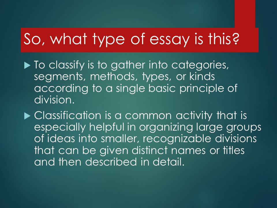 2 types of essay according to form The chart below outlines 4 main types of essay questions, the verbs/cues that indicate the type of essay question and its purpose, and the strategy to be used to answer it essay question -- type verbs / cues.