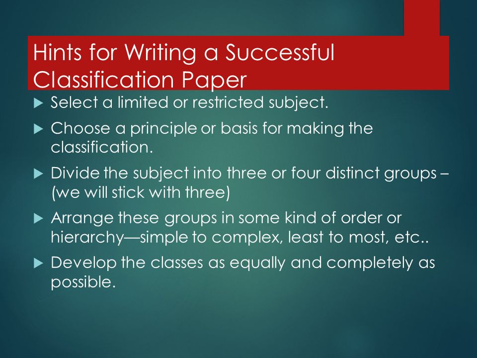 the classification and division essay ppt video online  hints for writing a successful classification paper