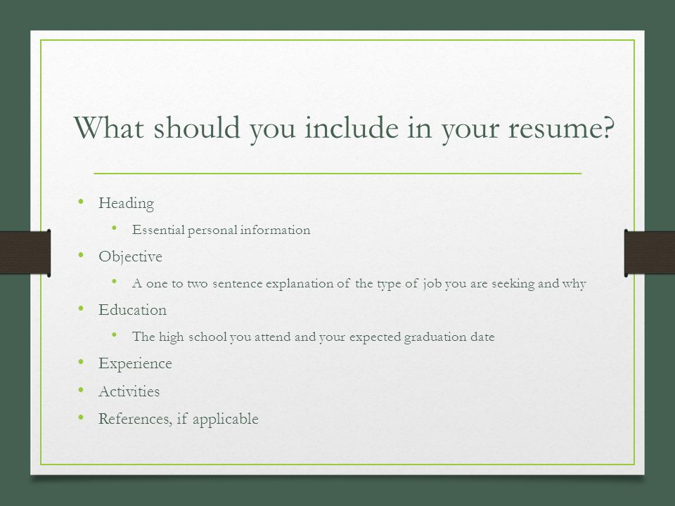 pieces of a resume business management ppt