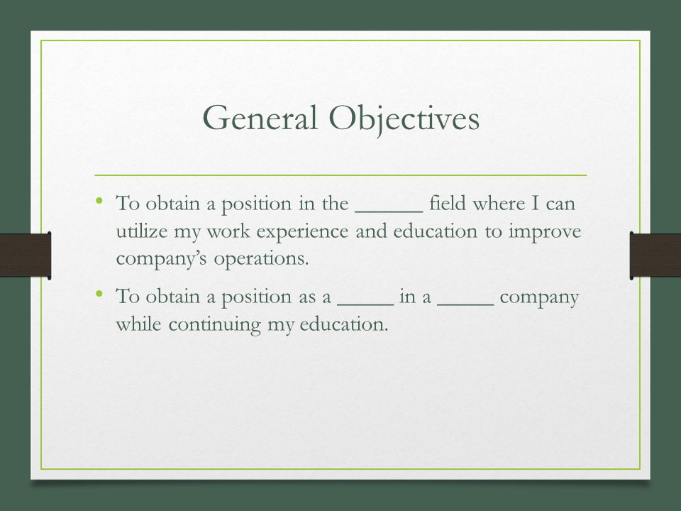 pieces of a resume business management