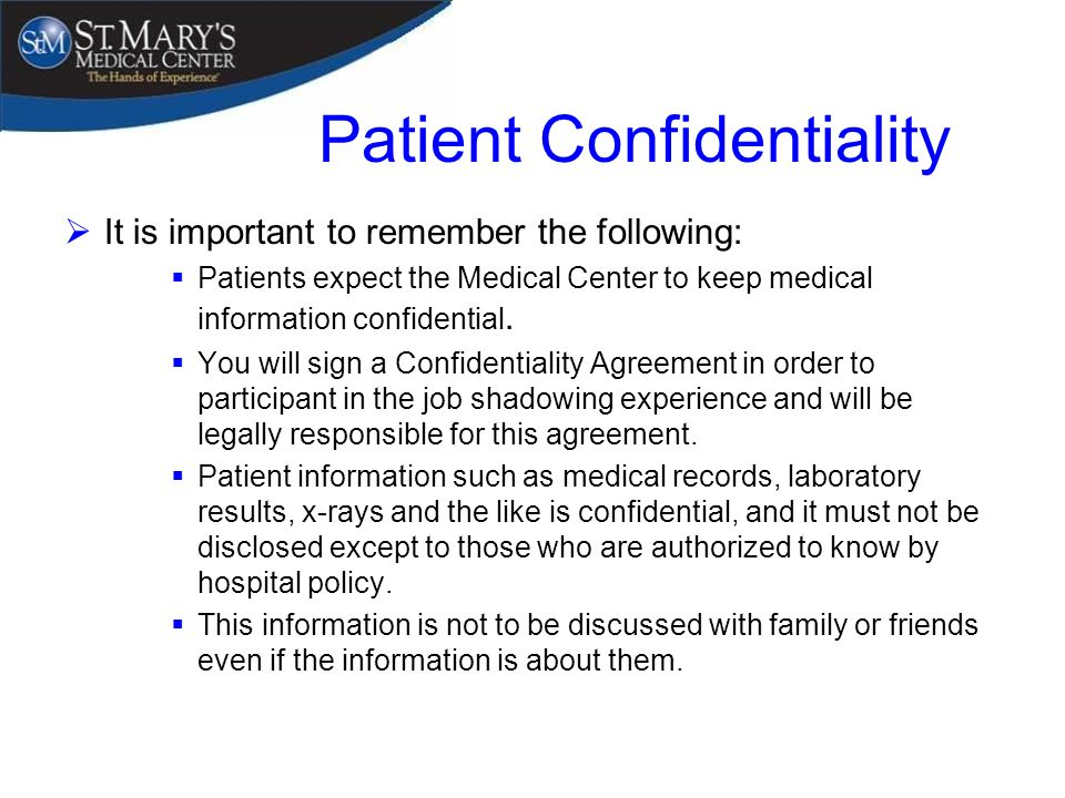 Job Shadowing Program Overview ppt download – Medical Confidentiality Agreement