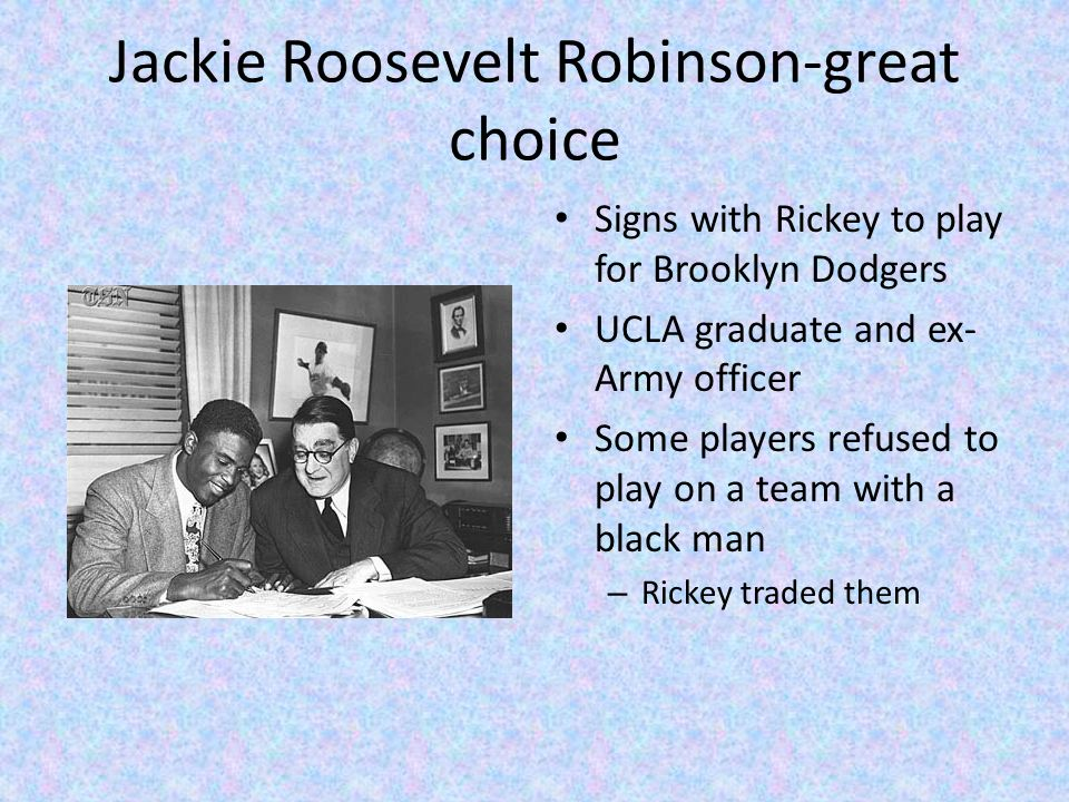 jackie roosevelt robinson bridging blacks and Jack roosevelt jackie robinson a tryout at fenway park for robinson and other black players on and jackie had three children: jackie robinson jr.