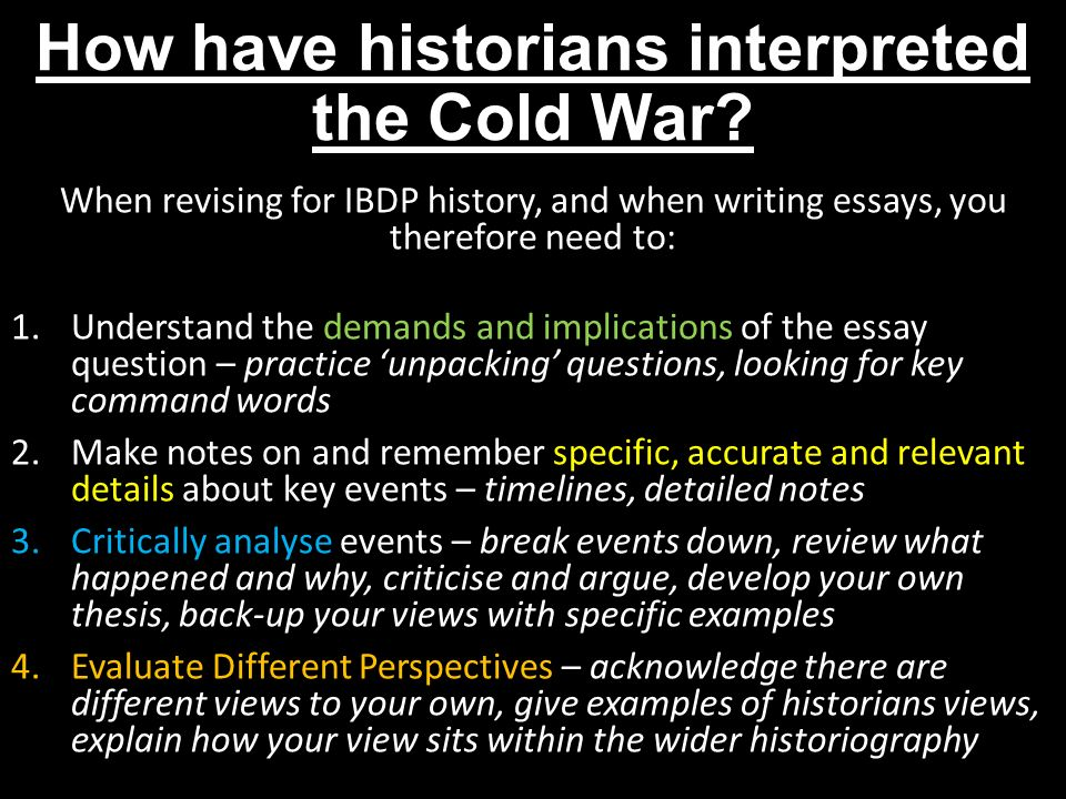cold war essays Wrting an essay about the cold war has its own set of unique challenges, beyond those associated with writing a history essay on any topic there are pitfalls to avoid, as well as things that you should take into account.