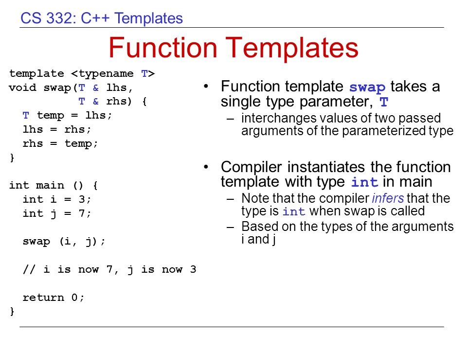 Overview of c templates ppt video online download for What is function template