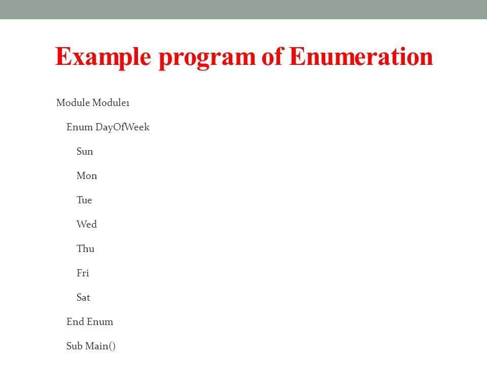 example of enumeration