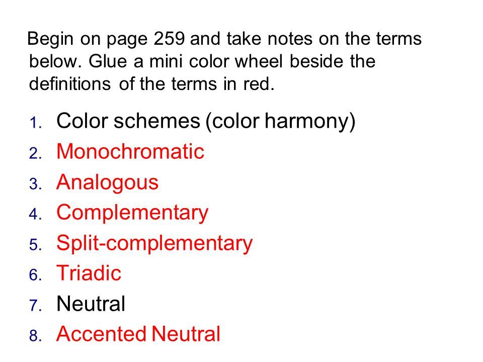 Color Schemes Harmony Monochromatic Analogous Complementary