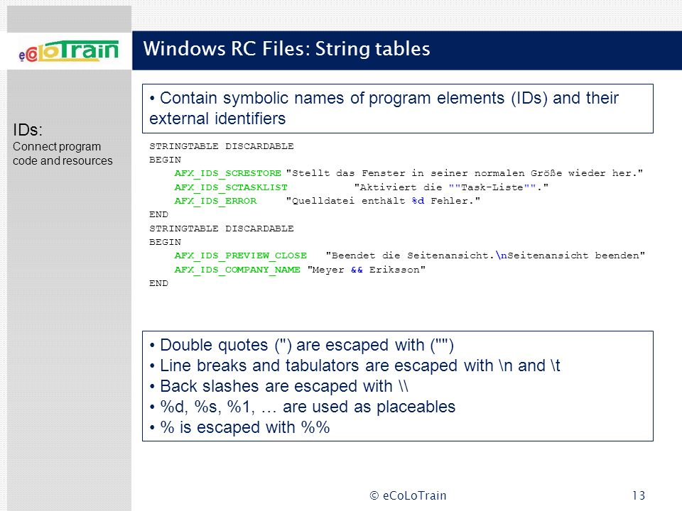 Windows RC Files: String tables