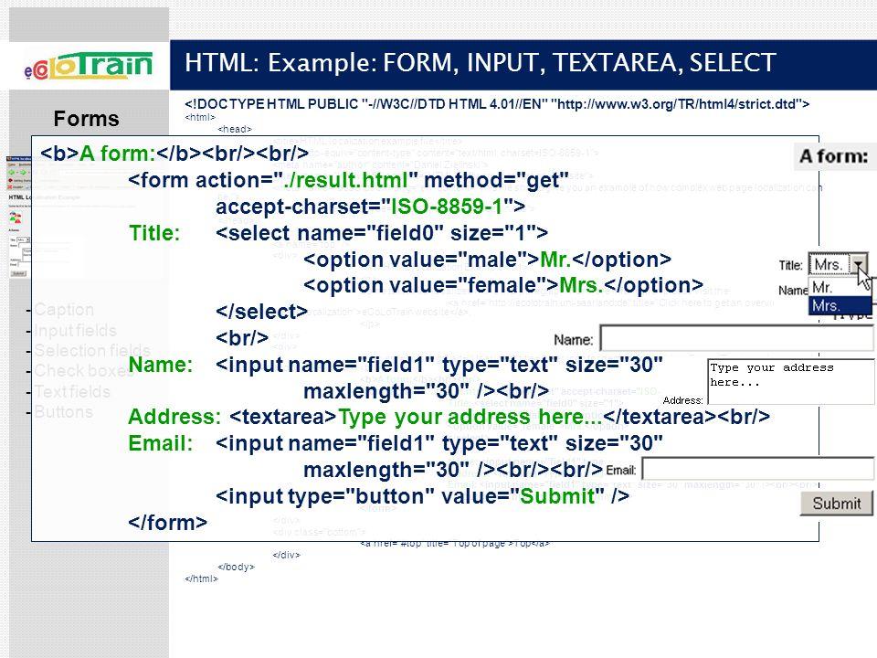 HTML: Example: FORM, INPUT, TEXTAREA, SELECT