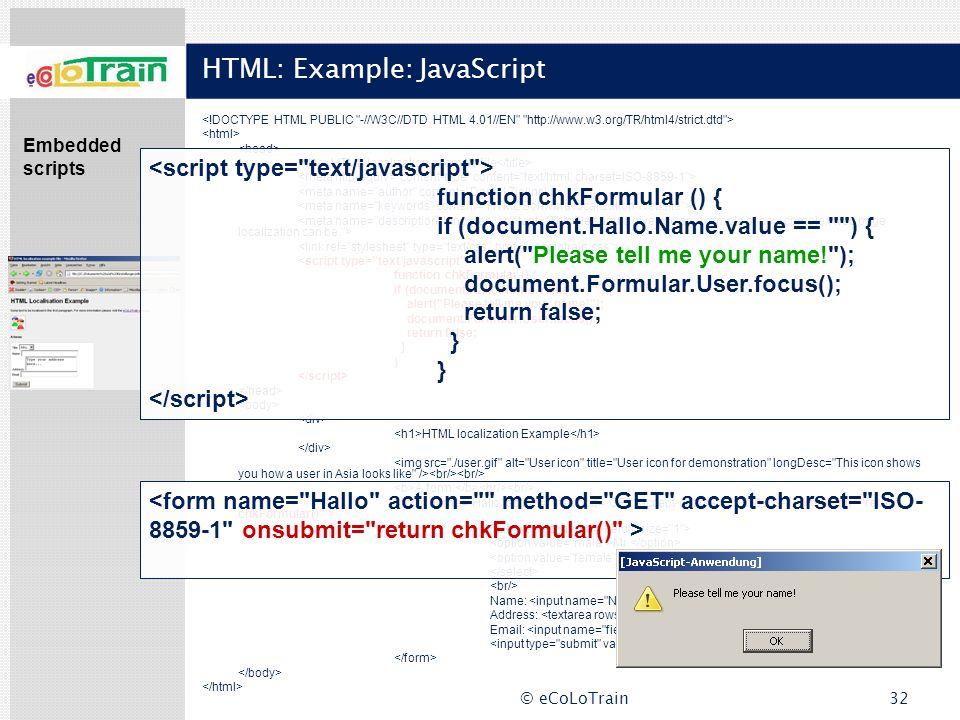 HTML: Example: JavaScript