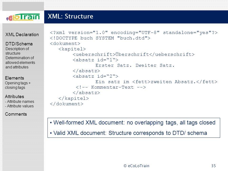 XML: Structure XML Declaration. < xml version= 1.0 encoding= UTF-8 standalone= yes > <!DOCTYPE buch SYSTEM buch.dtd >