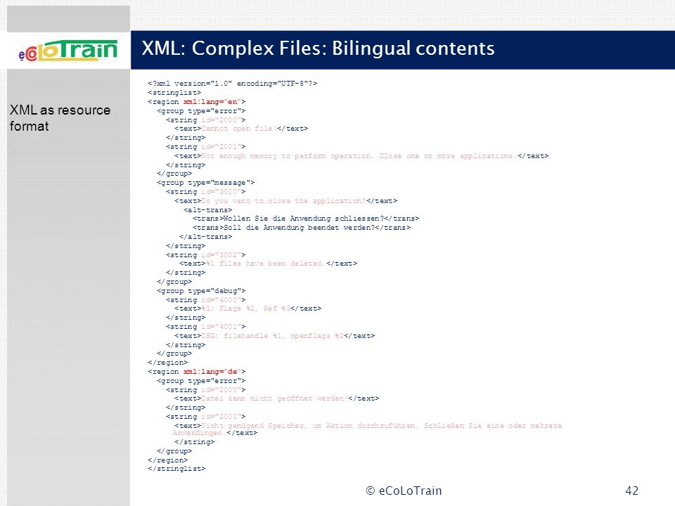 XML: Complex Files: Bilingual contents