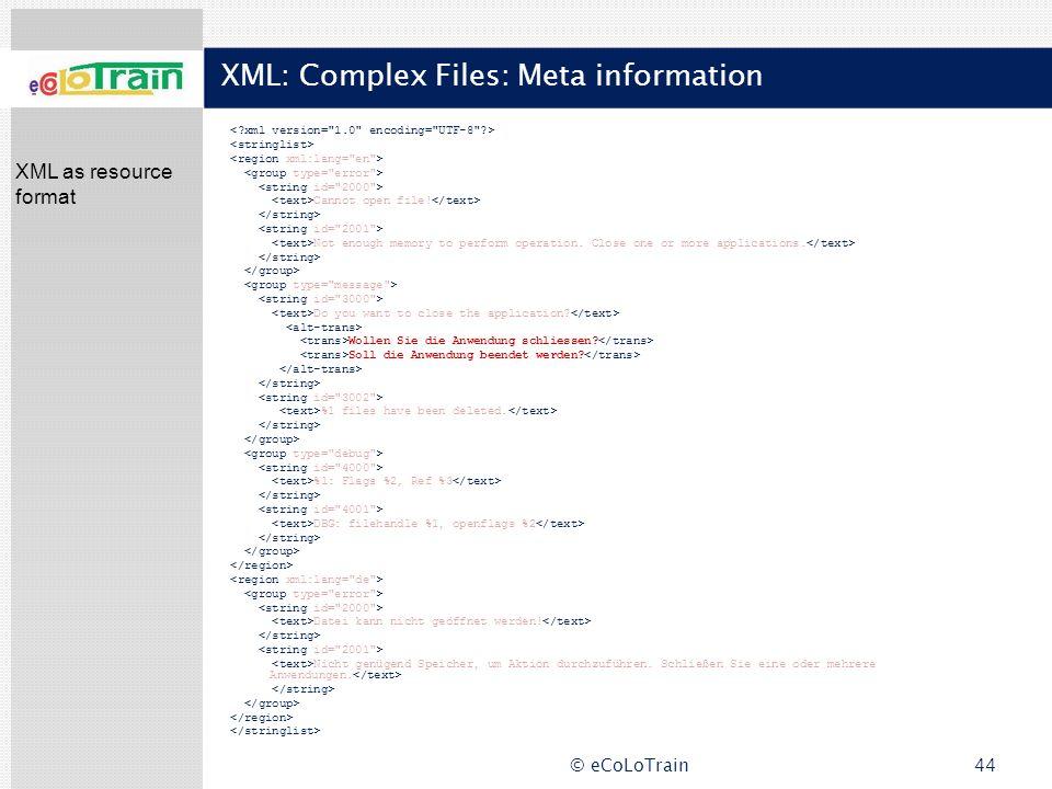 XML: Complex Files: Meta information