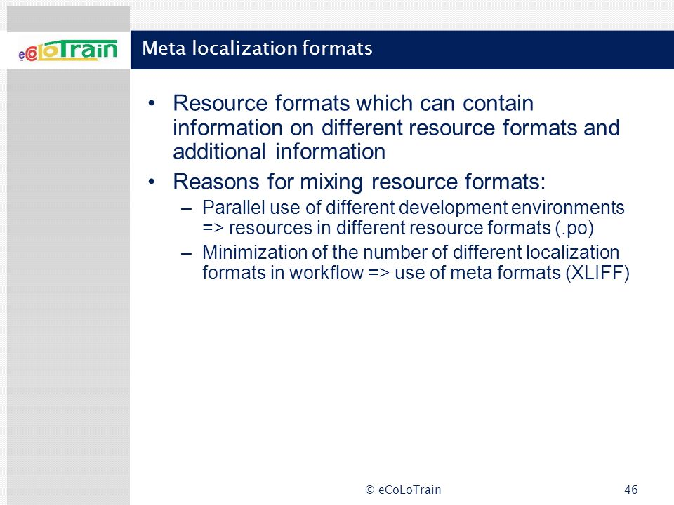 Meta localization formats