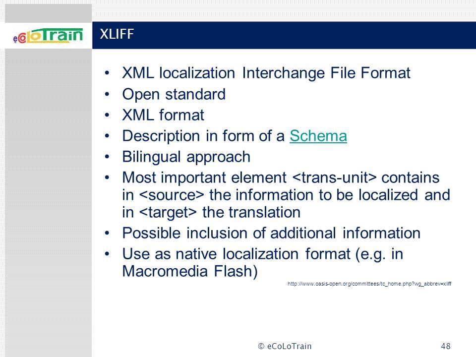 XML localization Interchange File Format Open standard XML format