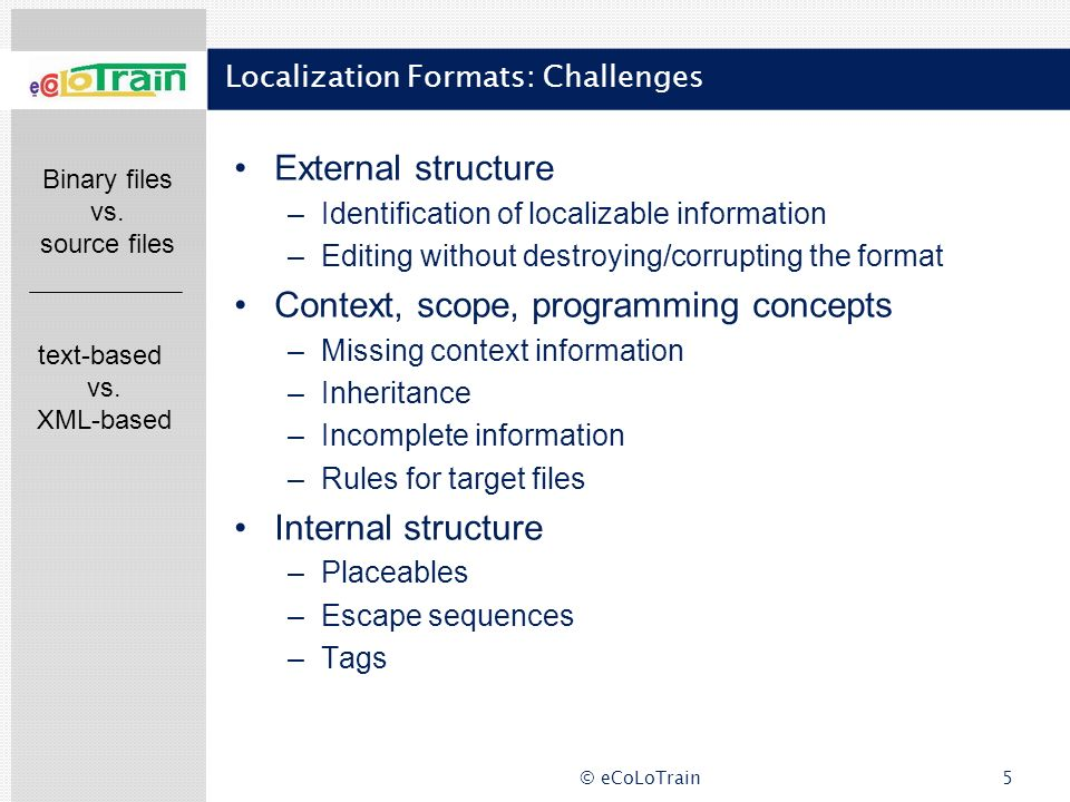 Localization Formats: Challenges