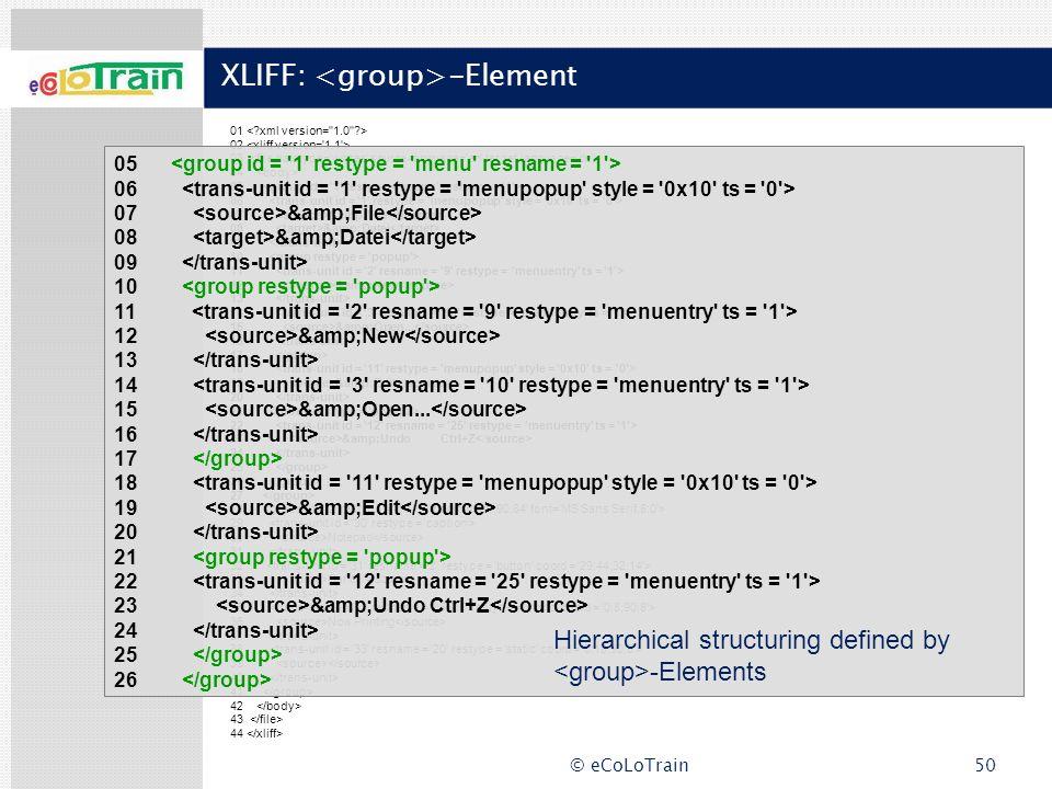 XLIFF: <group>-Element