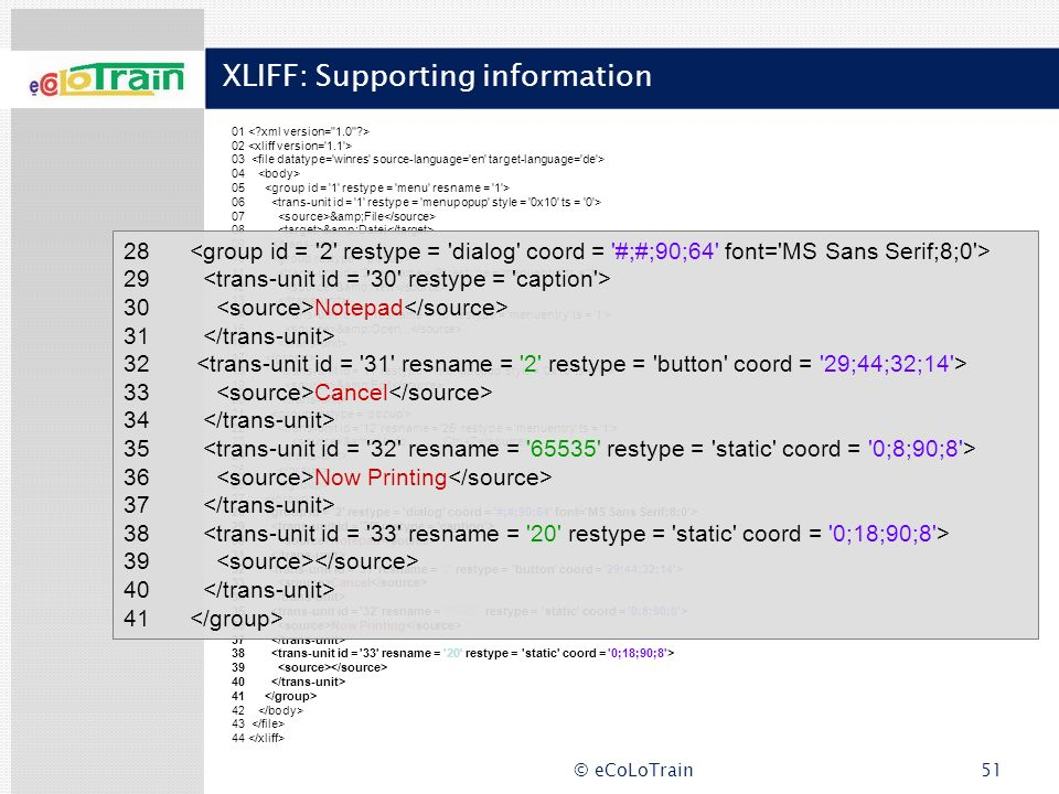 XLIFF: Supporting information