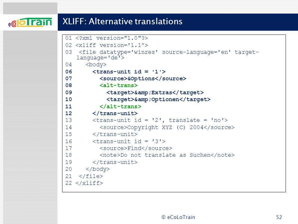 XLIFF: Alternative translations