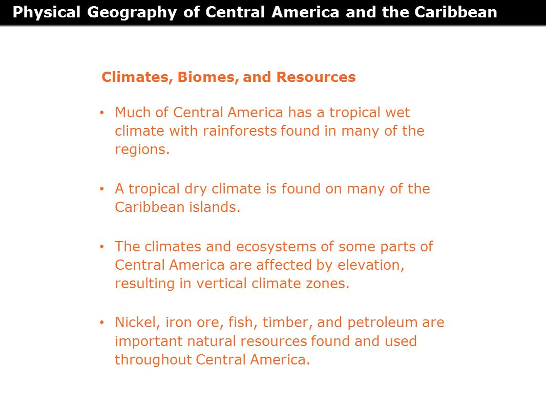 Natural Resources Found In Central America Caribbean Islands