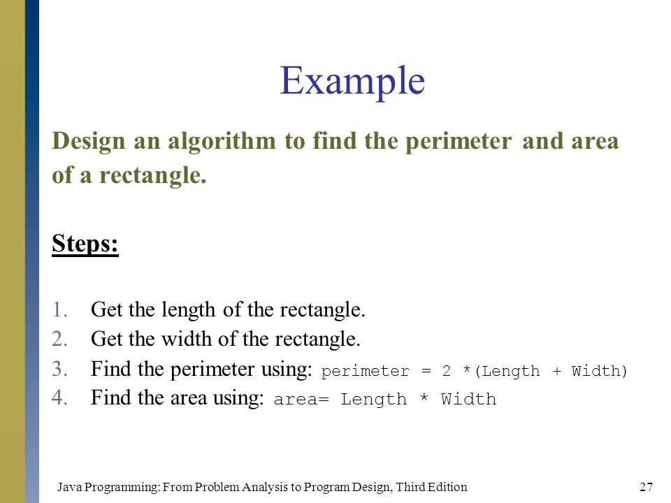 Chapter 1 an overview of computers and programming languages example design an algorithm to find the perimeter and area ccuart Image collections