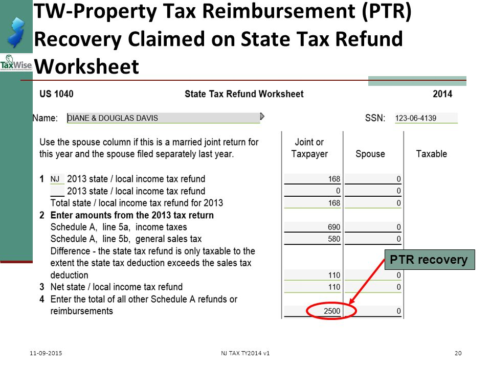 Property Tax Rebates Recoveries PTR Homestead Benefit ppt – State Tax Refund Worksheet